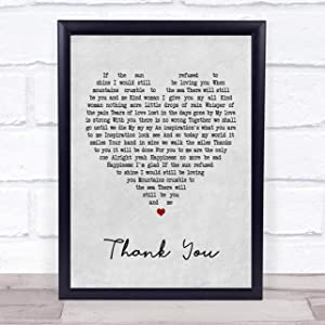 Thank You Grey Heart Song Lyric Quote Print