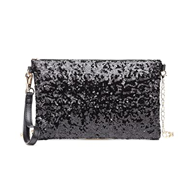 f110a75216f Miss Lulu Evening Party Clutch Chain Strap Shining Sequins Handbag Shoulder  Bag Cross Body Bag For