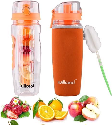 Ideal para Llevar Cuando Haces Deportes willceal Botella de Agua con Tapa para infusiones de Frutas para IR a Acampar Libre de BPA etc tama/ño Grande Resistente con dise/ño a Prueba de Fugas