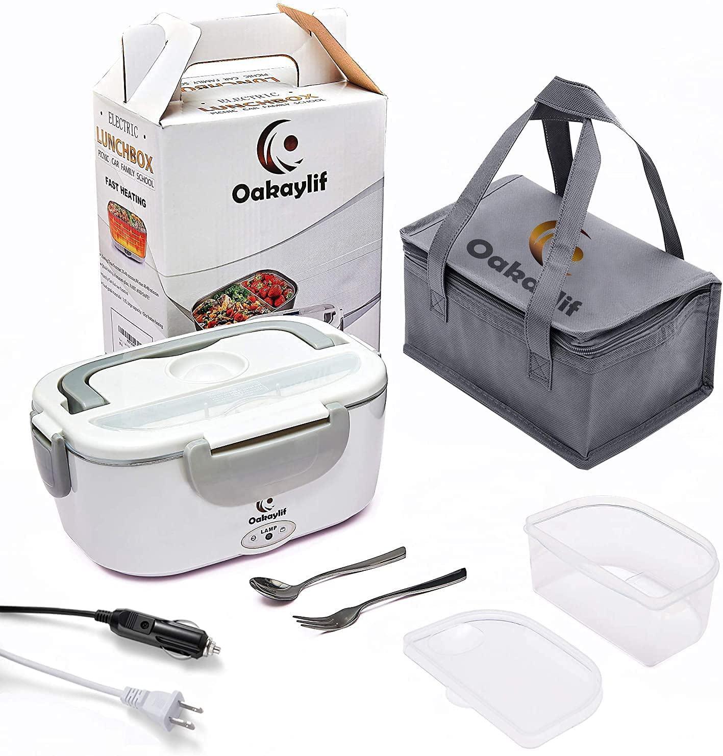 Electric Lunch Box Food Warmer,Oakaylif 2 IN 1 Portable Heated Lunch Boxes for Truck/Home/Office 110V&12V with 2 Compartments,1.5L 304 Stainless Steel Container,SS Fork & Spoon and Insulation Bag