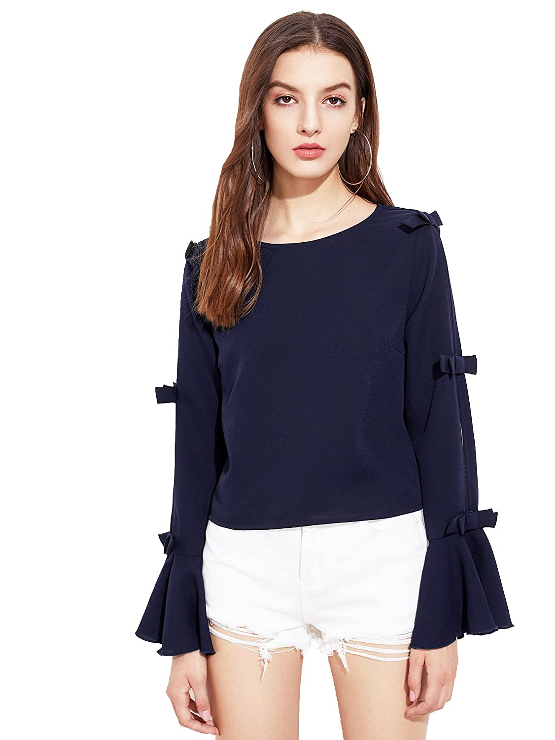 Navy Blue Bow Crafted Bell Sleeve Detail Top Casual Wear