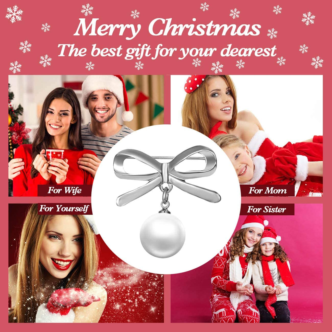 RINHOO FRIENDSHIP Pearl Brooches Pin Clip Breastpin Bow Dangle Beads Safety Dress Shawl Sweater Bowknot Decoration Brooch for Women Girls