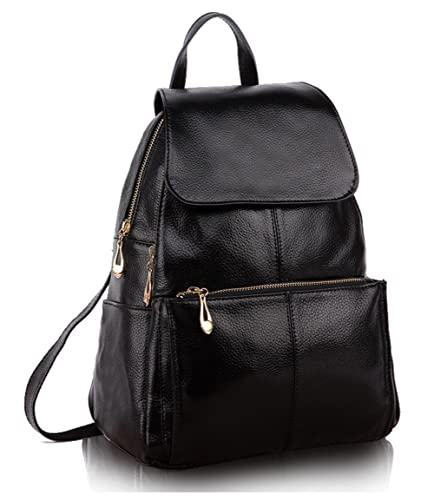 Greeniris Women Leather Backpack School Bags Black: Amazon.co.uk ...