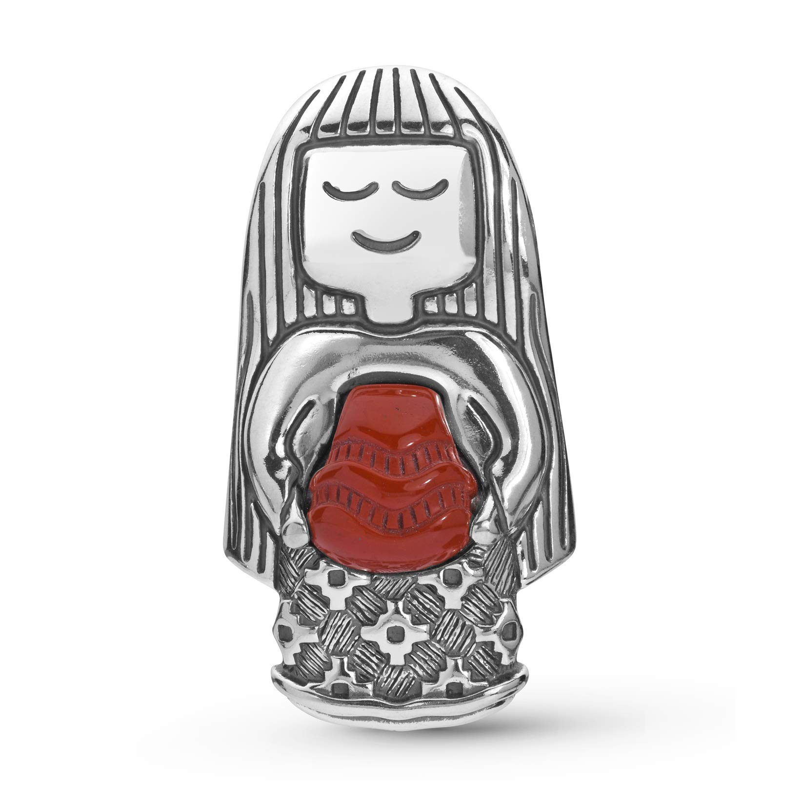 American West Sterling Silver Native Woman with Red Jasper Stone Pottery Necklace Enhancer Pendant, 1-5/8'' by American West