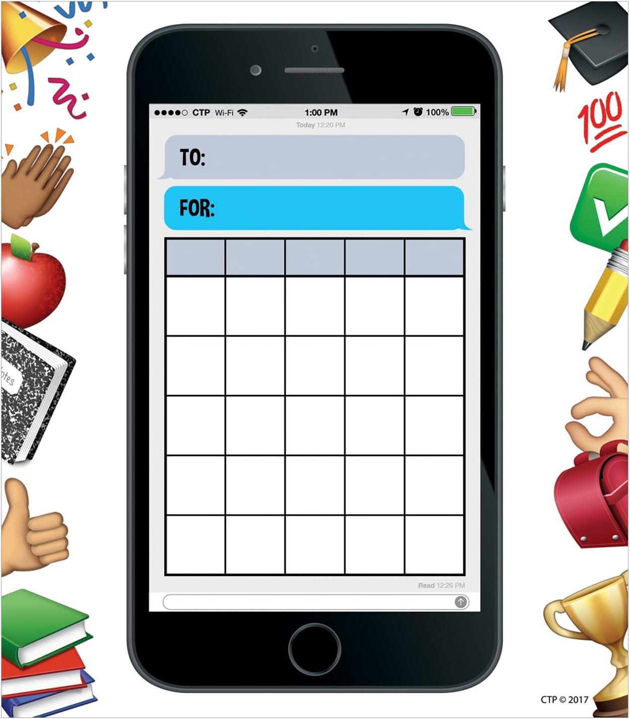 Creative Teaching Press Incentive Chart Emoji Fun Smart Phone Fun Student Incentive Charts Ctp 0695
