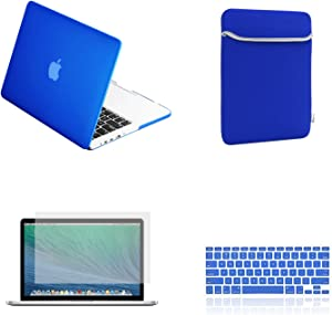 TopCase Rubberized Hard Case for 13-Inch Macbook Pro A1425 and A1502 Bundle with Sleeve, Silicone Keyboard Cover, Clear Screen Protector and Mouse Pad -Royal Blue