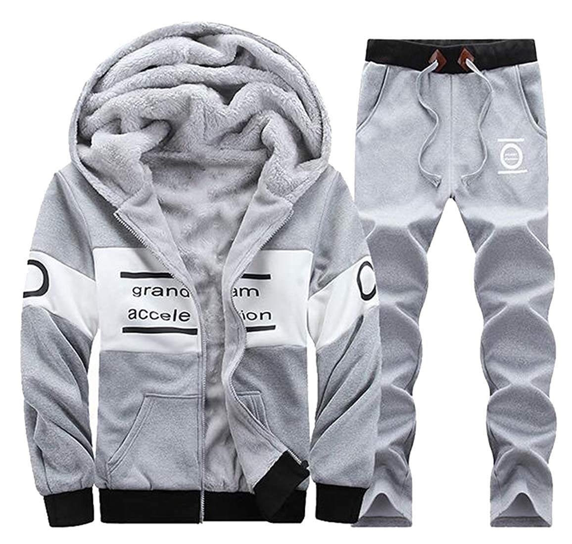 pipigo Mens Casual Sport Warm 2 Pieces Suits Hoodie Fall /& Winter Fleece Outfits Tracksuit Sweatsuits Light Grey XS