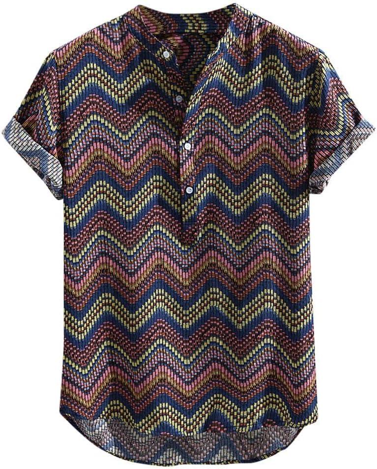 AG&T Hombre Camisas Tops Manga Corta Botón Estampadas Collar de pie Vacaciones Fiesta Blusa Camisa abiertaestilo étnico Verano Moda Casual Clásico para Ropa Hombre Tops: Amazon.es: Deportes y aire libre