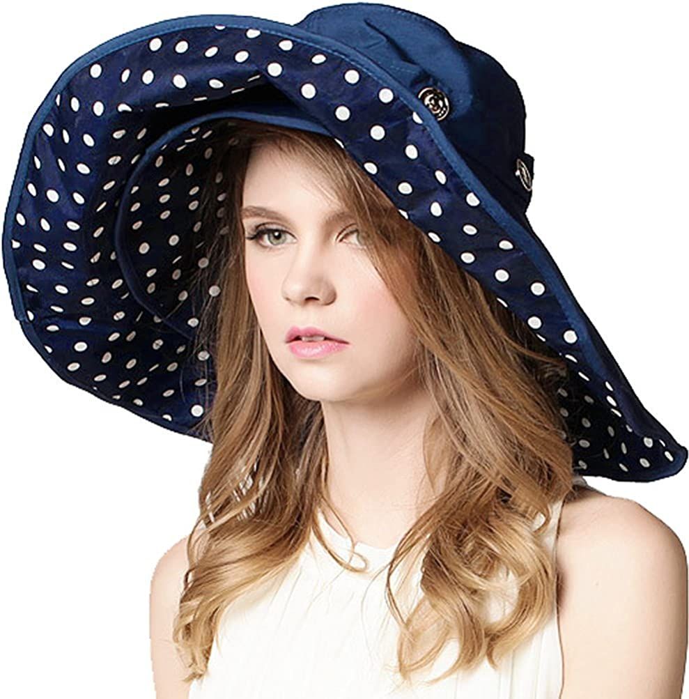 Women Large Wide Brim 2in1...