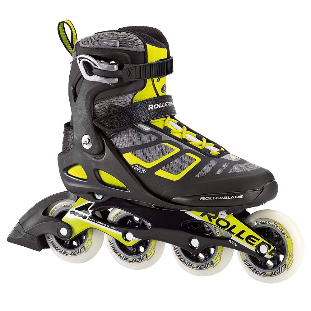 Rollerblade Macroblade 90 Alu Men's Adult Fitness Inline Skate, Black and Lime, High Performance Inline Skates by Rollerblade (Image #1)