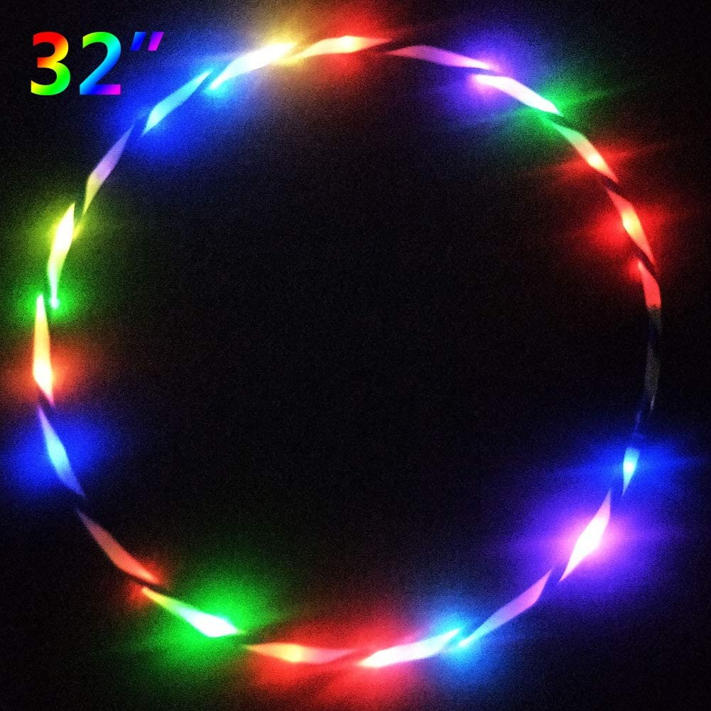 Yellow//Orange 12 LEDs alldoro 63003 Fun Diameter 78 cm Fitness and Gymnastics Hula Sports Hoop with Light for Children from 4 Years and Adults
