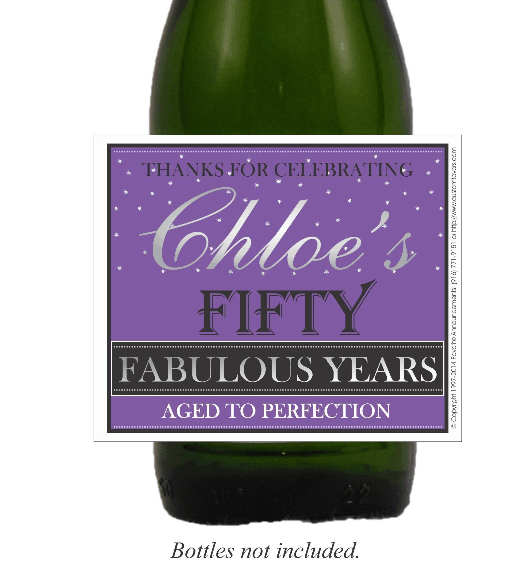 Fifty Fabulous Years Birthday Wine, Beer or Champagne Labels (set of 24)(L692)