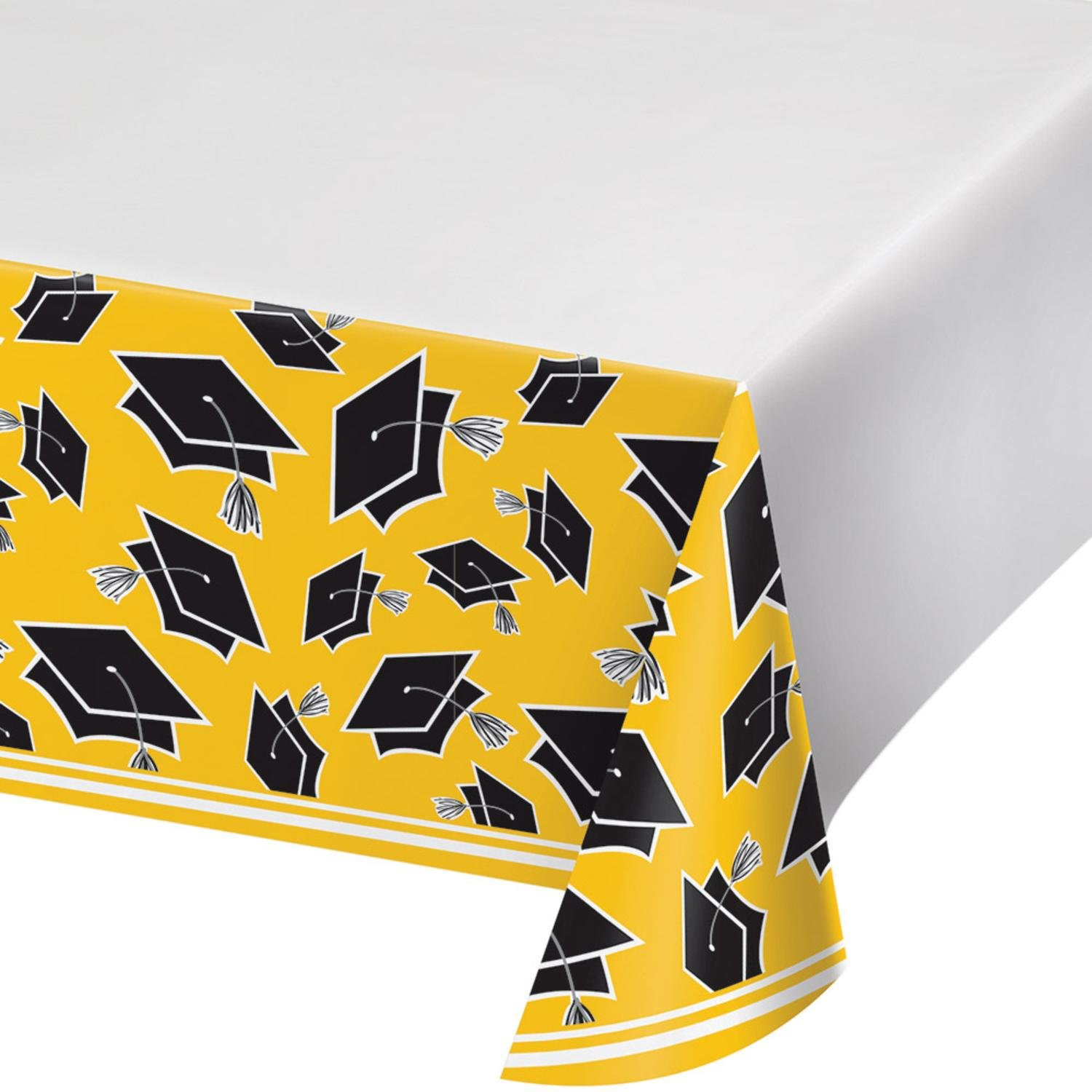 Party Central Club Pack of 12 Black and Yellow School Spirit Theme Decorative Table Cover 102''