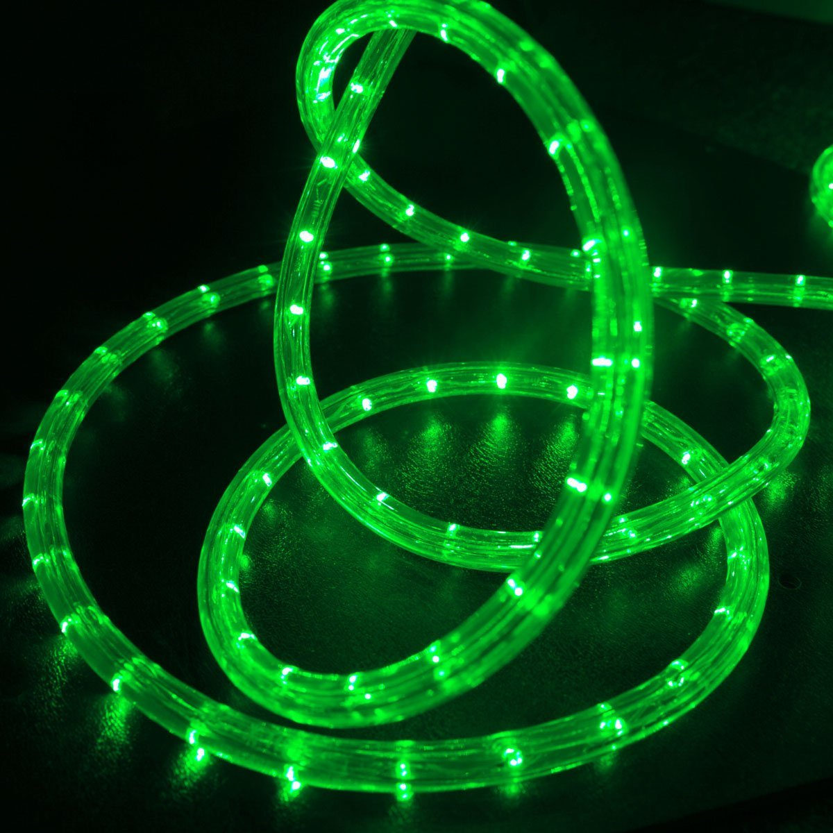 """WYZworks 25 feet 1/2"""" Thick Green Pre-Assembled LED Rope Lights with 10', 50', 100', 150' Option - Christmas Holiday Decoration Lighting 