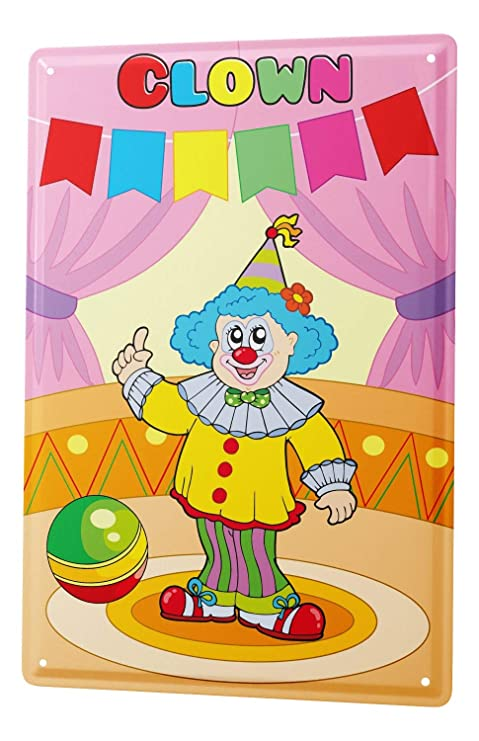 Cartel de chapa Placa metal tin sign payaso en el circo con ...