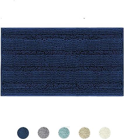 DomoWin Alfombra De Baño, Alfombra de Baño Antideslizante Alfombrillas Absorbente Tapete del Piso de Microfibra de Chenilla Lavable a Máquina Alfombra de Ducha (Azul Marino, 43_x_60_cm): Amazon.es: Hogar