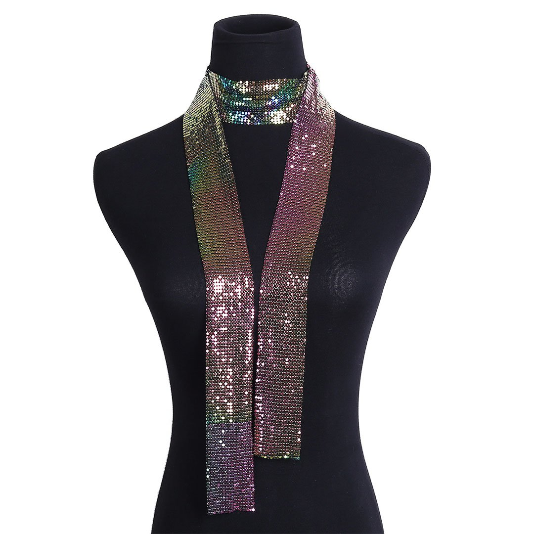 Naimo Womens Shiny Metallic Sequin Choker Collar Necklace (Colorful)
