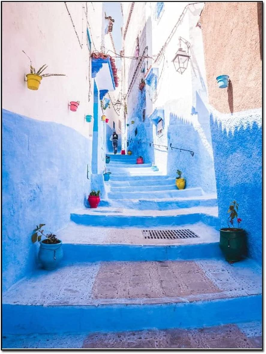 IDHEYUC Posters Morocco Travel Photography Old City Blue Building Home Decor Room Decor Poster Decorative Painting Canvas Wall Art Living Room Posters Bedroom Painting 12×16inch(30×40cm)