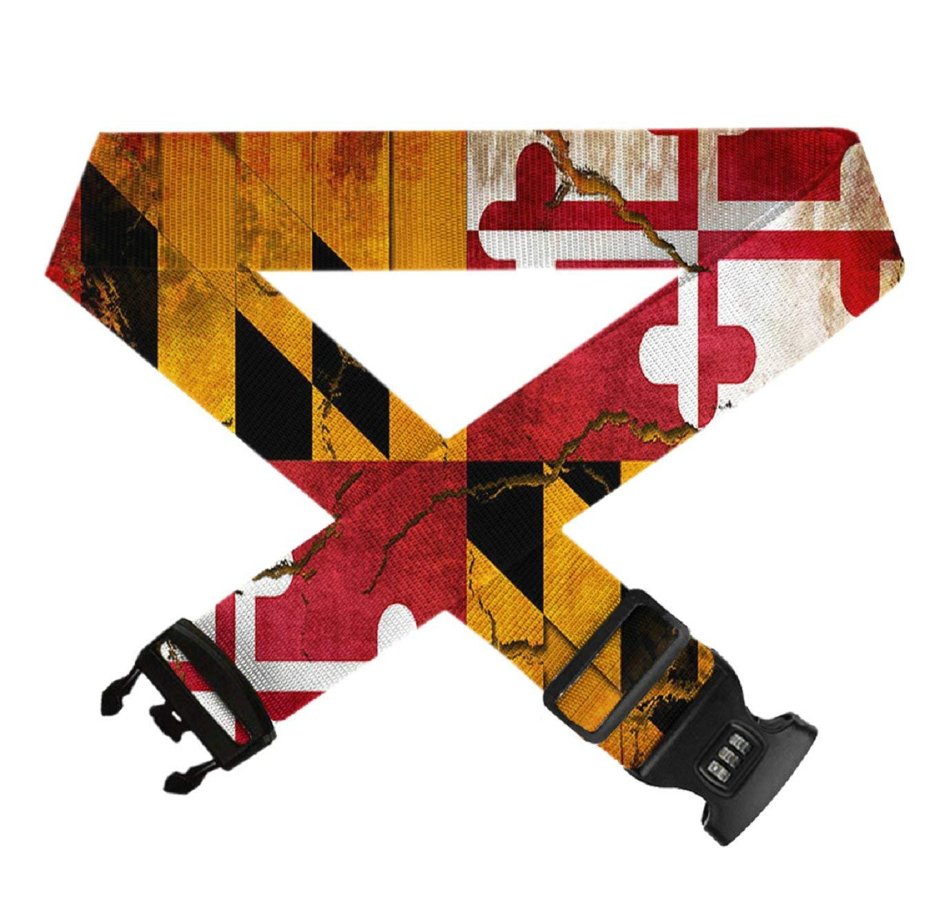 Adjustable Add-A-Bag Luggage Strap,1 PC Baggage Suitcase Straps Belts TSA Approved Lock Travel Accessories GLORY ART Vintage Wooden Maryland Flag