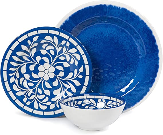 Melamine Dinnerware Set 12 Pcs Dinner Dishes Set For Outdoor Use Dishwasher Safe Lightweight Unbreakable Blue Dinnerware Sets