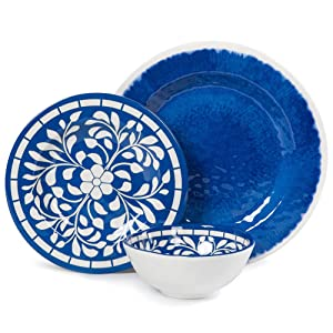 Melamine Dinnerware Set - 12 Pcs Dinner Dishes Set for Outdoor Use, Dishwasher Safe, Lightweight Unbreakable, Blue