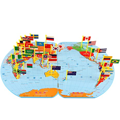 Amazon children wooden puzzle world map flag matching puzzle children wooden puzzle world map flag matching puzzle toy kids geography jigsaw puzzles toy s gumiabroncs Images