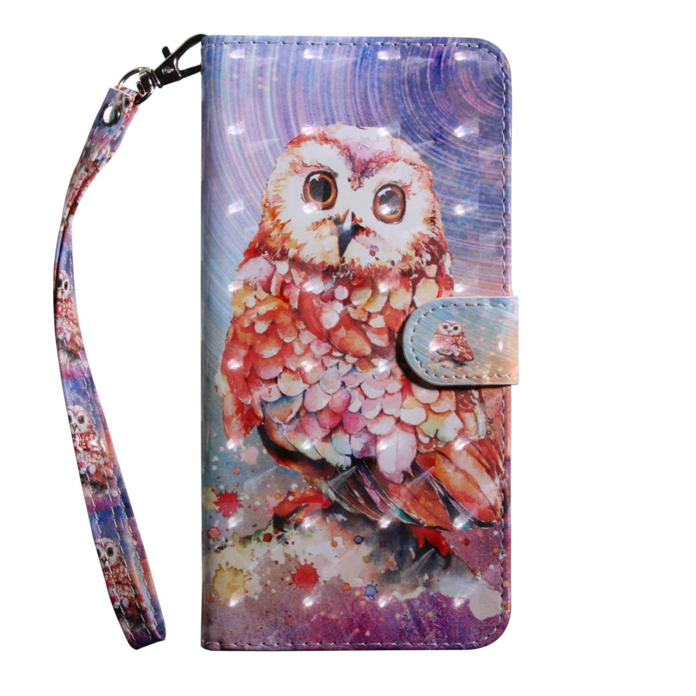 Xiaomi MI 5X Case CUSKING Magnetic Wallet Case for Xiaomi MI 5X [Card Slot] [Hand Strap] [Flip Case] [Easy to Clean] Full Body Proective Case - Purple, Owl