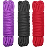 3-Pack 32 Feet All-Purpose Soft Cotton Rope - 1/3-Inch Diameter, Black Red and Purple