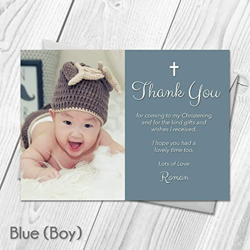 Personalised Thank you cards notes Naming Day Christening Birthday girl boy