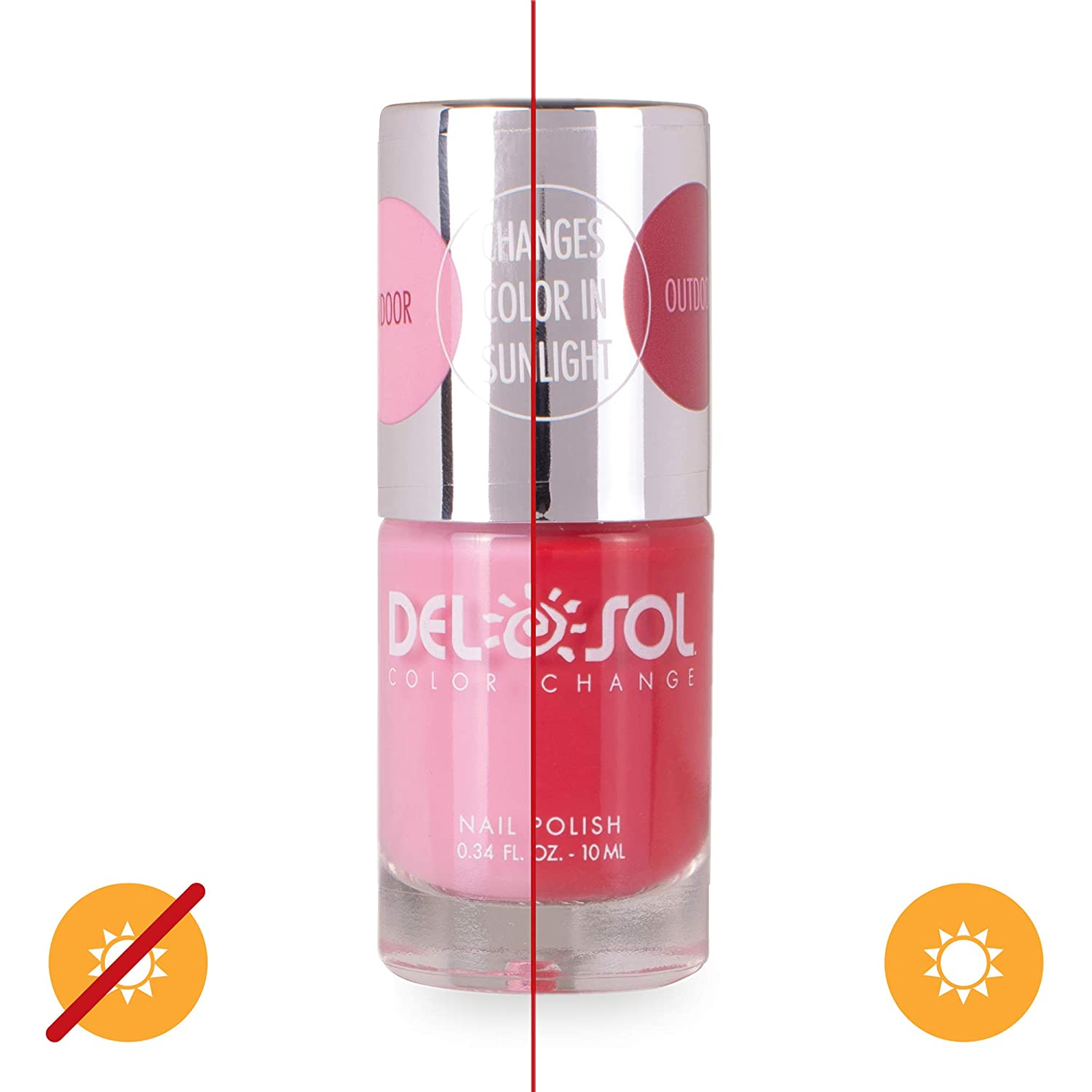 Del Sol Color-Changing Nail Polish - Drops of Jupiter - Changes Color from Pink to Red in the Sun - Quick dry, 5-Free Nail Lacquer - .34 fl oz/ 10mL