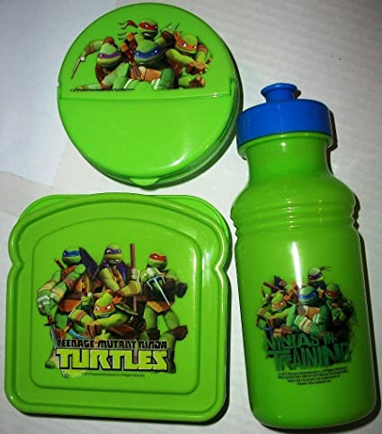 Teenage Mutant Ninja Turtles Round Snack & Bread Shaped Containers & 17 Oz Pull Top Bottle