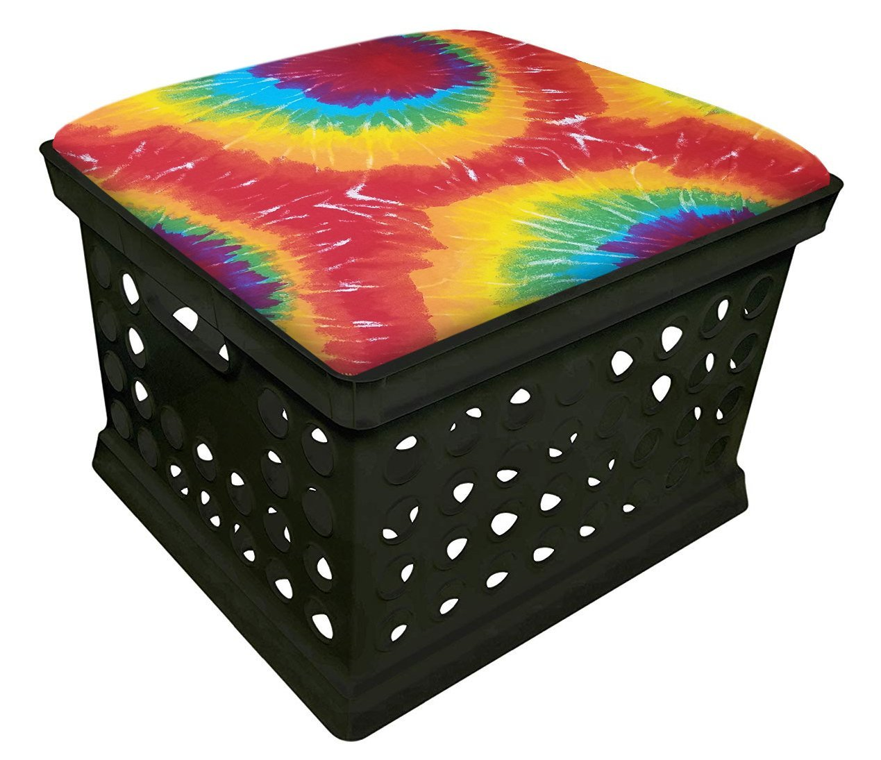 Black Utility Crate Storage Container Ottoman Bench Stool for Office/Home/School/Preschools with Your Choice of Seat Cushion Theme and a Free Flashlight! (Tie Dye Large Print) by The Furniture Cove