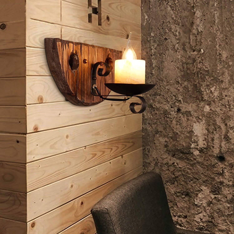 IG Wohnmöbel Retro Massivholz Wandleuchte Speisesaal Bar Gang Schlafzimmer Schlafzimmer Nachttisch Kreative Retro Industrielle SegelStiefel Holz Wandleuchte