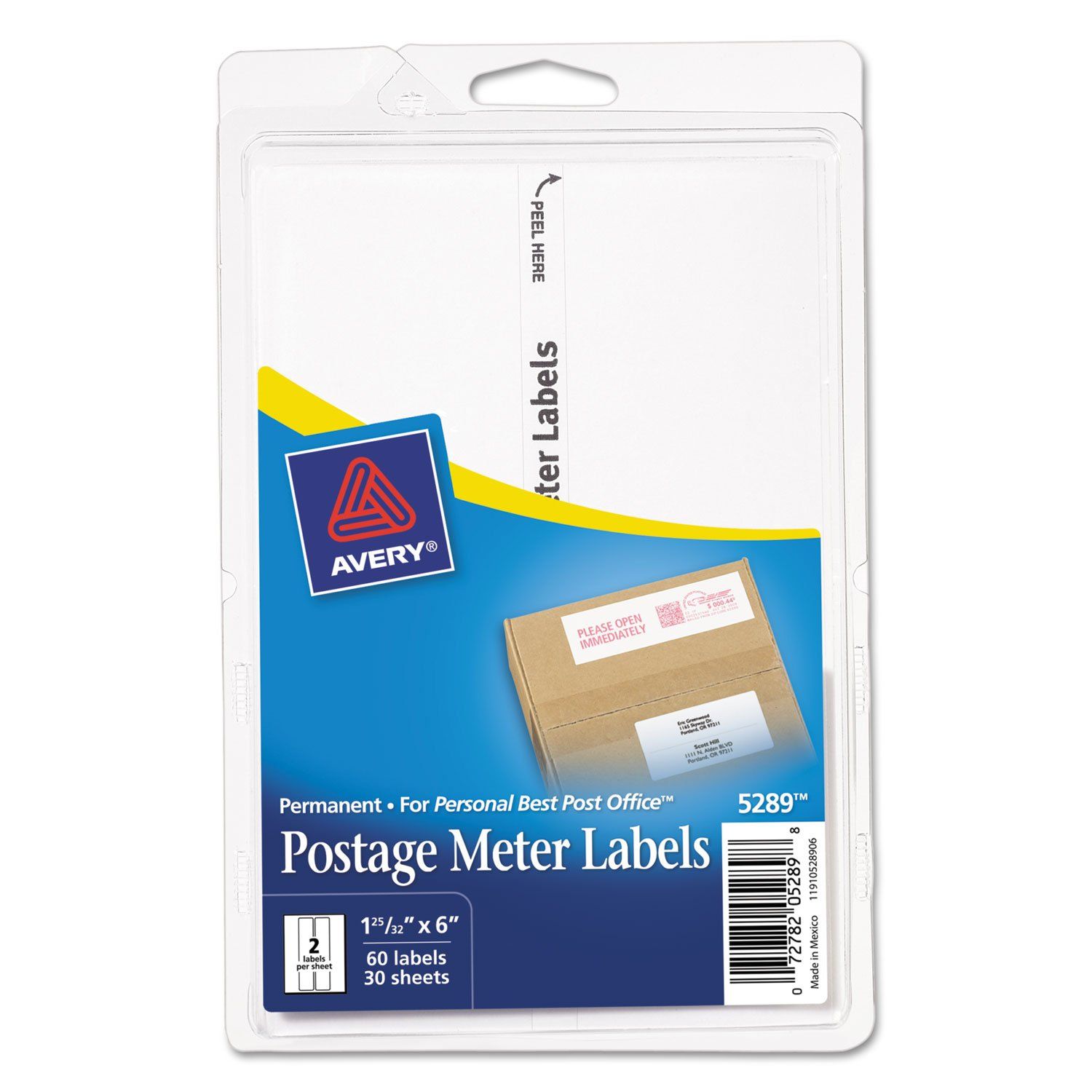 Avery Postage Meter Labels for Personal Post Office E700, 1-3/16 x 6, White, 60/Pack