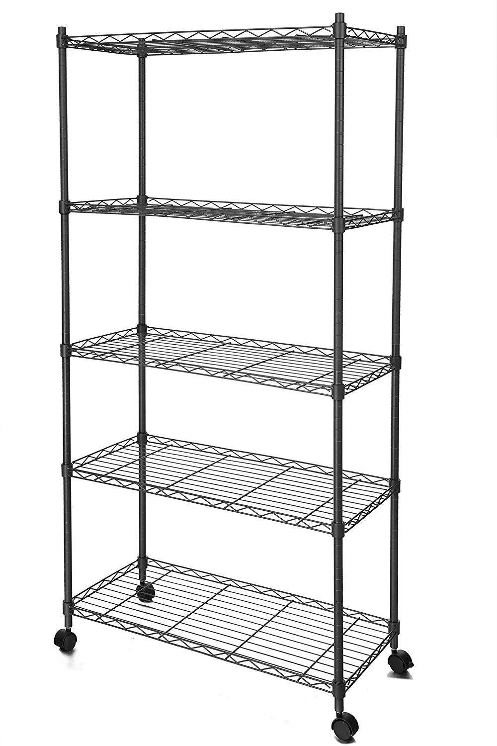 Lantusi 5 Tier Wire Shelving Unit, Adjustable Steel Wire Rack Shelving, 5 Shelves Storage Rack with Wheels,Black (US STOCK)