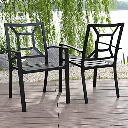 Amazon Com Mfstudio Outdoor Chairs Set Of 2 Patio Wrought Iron Chair Outdoor Dining Set With Armrest Garden Outdoor