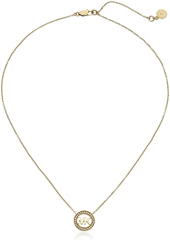 pave quot tone fashion kors gold and michael amazon com necklace pendant dp heart