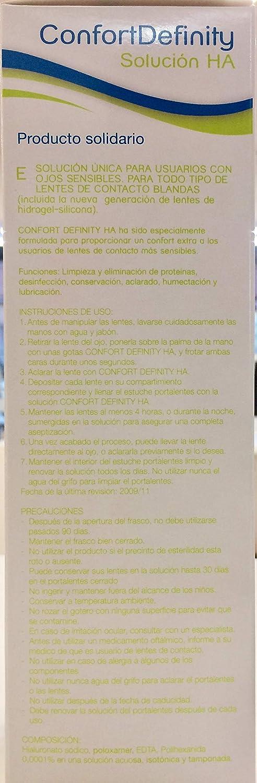 SOLUCIÓN ÚNICA PARA LENTES DE CONTACTO CONFORT DEFINITY Solución HA con Ácido Hialurónico OJOS SENSIBLES 350 ml.: Amazon.es: Salud y cuidado personal