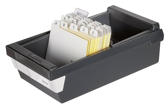 HAN Karteikasten A4 954-13 f/ür 1.300 Karten simpel Ordnung halten quer Karteikartenbox in Schwarz mit gro/ßem Schriftfeld /& inkl 2 St/ützplatten