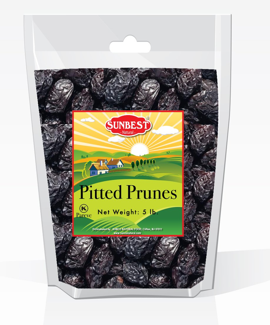 SUNBEST Pitted Dried Prunes, Dried Plum - Pitted in Resealable Bag, 5 Lb