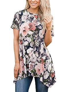 e8e50d0b4c8 Happy Sailed Womens Summer Loose Fit Short Sleeve Floral Print Irregular  Hem Asymmetrical Tunic…