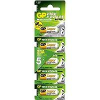 GP Batteries GP23A Süper Alkalin 23A/MN21/V23GA Boy Pil, 12 Volt, 5'li Kart, Bakır/Beyaz/Yeşil