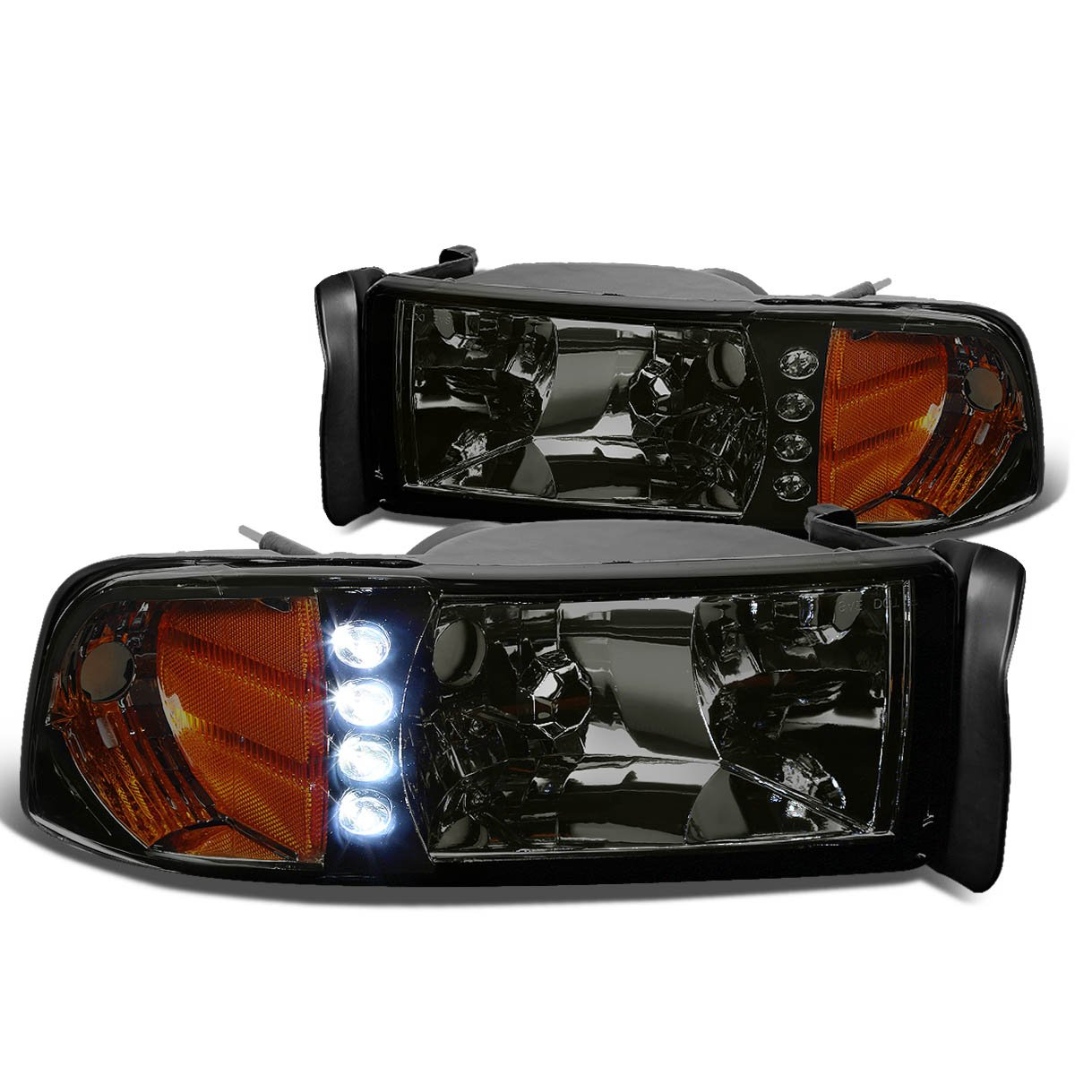 Driver and Passenger Side DNA Motoring HL-LED-DR94-1PC-SM-AM Headlight Assembly