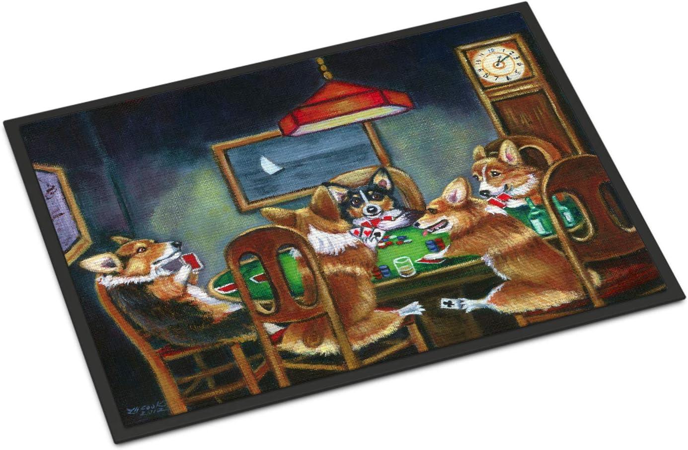 Caroline s Treasures 7416JMAT Corgi Playing Poker Indoor or Outdoor Mat 24×36, 24H X 36W, Multicolor