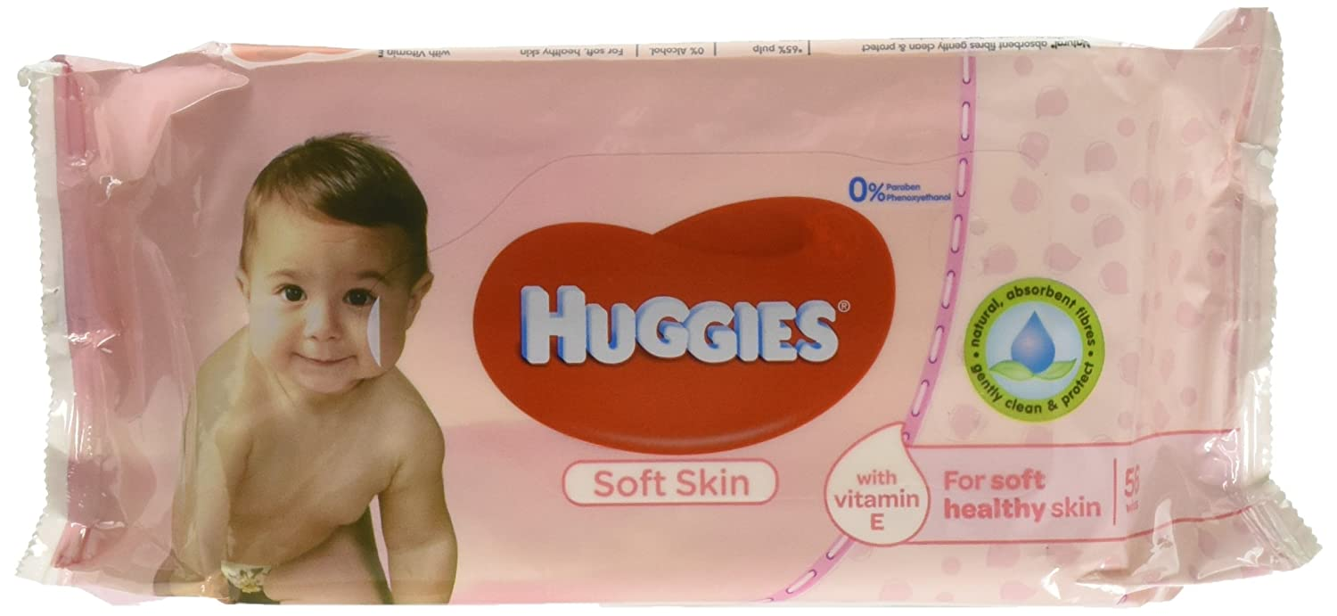 Amazon.com: Huggies Soft Skin Baby Wipes, with Vitamin E, 56 Count (Pack of 4) Total 224 Wipes: Health & Personal Care