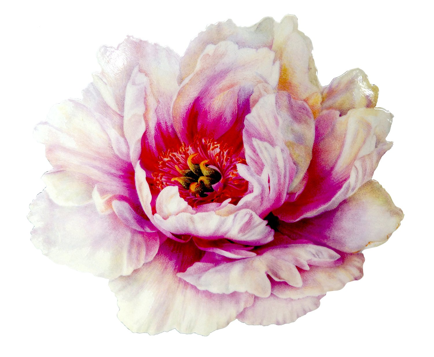 Caspari Peony Die Cut Placemats, White, Pack of 4 3023PM