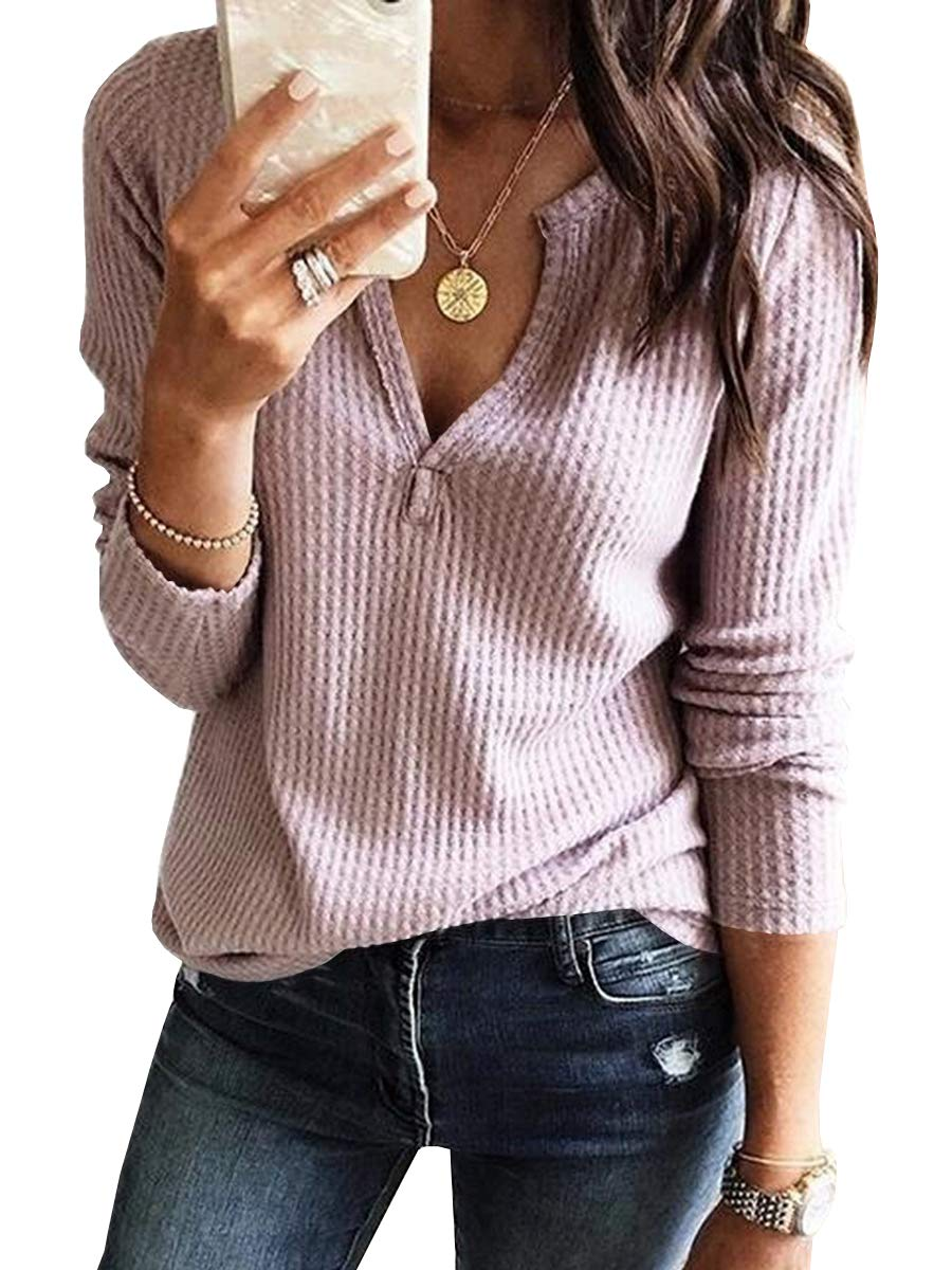 Womens V Neck Shirts Long Sleeve Waffle Knit Loose Fitting Warm Tee Tops Pullover Sweaters