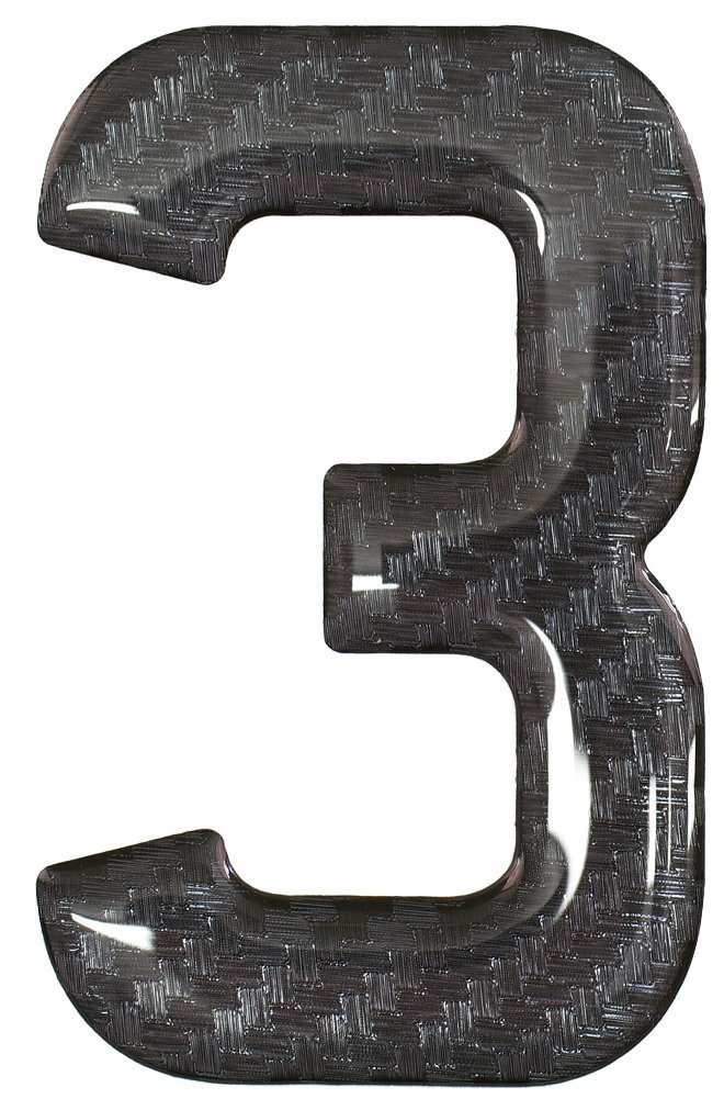 3D Resin/Gel Domed Self Adhesive Number Plate Number '3' (Black)