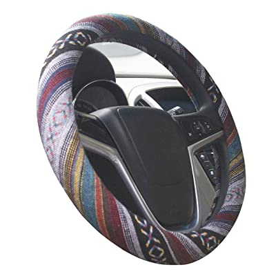 Istn Medium Ethnic Style Coarse Flax Cloth Automotive Steering Wheel Cover Anti Slip and Sweat Absorption Auto Car Wrap Cover (14.5''-15'',E): Automotive
