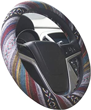 ISTN 2016 Ethnic Style Coarse Flax Cloth Automotive Steering Wheel Cover Anti Slip and Sweat Absorption Auto Car Wrap Cover F